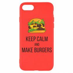 Чехол для iPhone 8 Keep calm and make burger