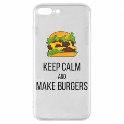 Чехол для iPhone 8 Plus Keep calm and make burger