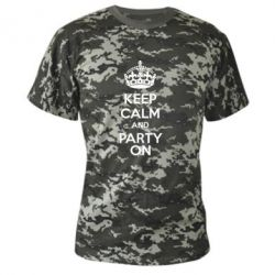Камуфляжна футболка KEEP CALM and PARTY ON