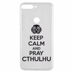 Чехол для Huawei Y7 Prime 2018 KEEP CALM AND PRAY CTHULHU - FatLine