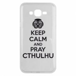 Чехол для Samsung J7 2015 KEEP CALM AND PRAY CTHULHU - FatLine