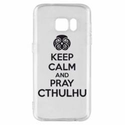 Чехол для Samsung S7 KEEP CALM AND PRAY CTHULHU - FatLine