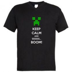 Мужская футболка  с V-образным вырезом Keep calm and ssssssss...BOOM! - FatLine