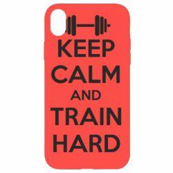 Чехол для iPhone XR KEEP CALM and TRAIN HARD - FatLine