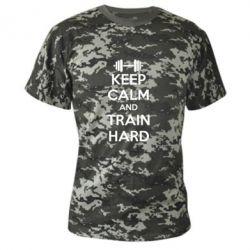Камуфляжная футболка KEEP CALM and TRAIN HARD - FatLine
