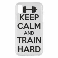 Чехол для iPhone X KEEP CALM and TRAIN HARD - FatLine