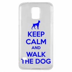 Чохол для Samsung S5 KEEP CALM and WALK THE DOG
