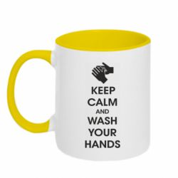 Кружка двоколірна 320ml Keep calm and wash your hands