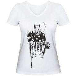 Женская футболка с V-образным вырезом Keith Charles Flint