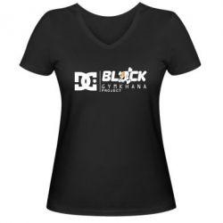 Женская футболка с V-образным вырезом Ken Block Gymkhana Project