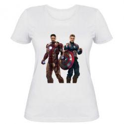 Женская футболка Кэп и Тони