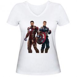 Женская футболка с V-образным вырезом Кэп и Тони - FatLine