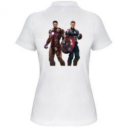 Женская футболка поло Кэп и Тони - FatLine