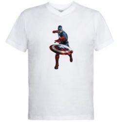 Мужская футболка  с V-образным вырезом Кэп - FatLine