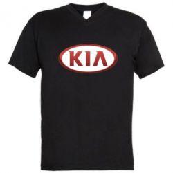 Мужская футболка  с V-образным вырезом KIA 3D Logo - FatLine