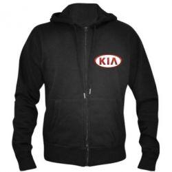 Мужская толстовка на молнии KIA 3D Logo - FatLine