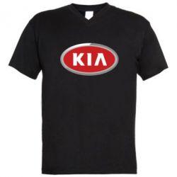 Мужская футболка  с V-образным вырезом KIA Logo 3D - FatLine