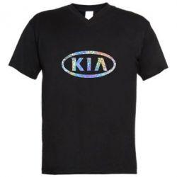 Мужская футболка  с V-образным вырезом KIA logo Голограмма