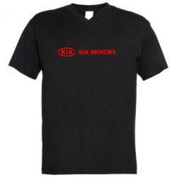 Мужская футболка  с V-образным вырезом Kia Motors Logo - FatLine