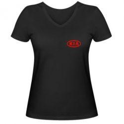 Женская футболка с V-образным вырезом KIA Small - FatLine