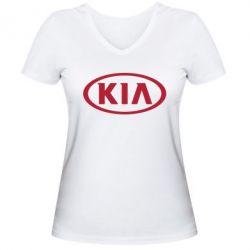 Женская футболка с V-образным вырезом KIA - FatLine