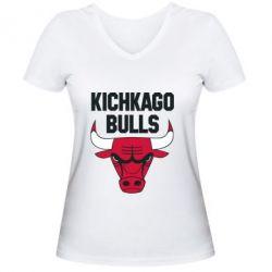 Женская футболка с V-образным вырезом Kichkago Bulls
