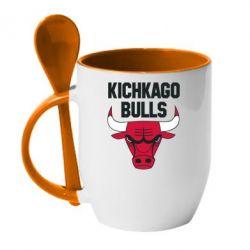 Кружка с керамической ложкой Kichkago Bulls