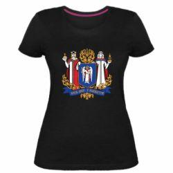 Женская стрейчевая футболка Киев большой герб 1995