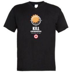Чоловіча футболка з V-подібним вирізом Kill coronavirus the doctor will help