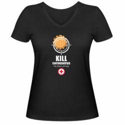 Жіноча футболка з V-подібним вирізом Kill coronavirus the doctor will help