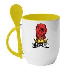 Кружка з керамічною ложкою king of the Ring