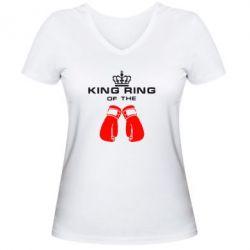 Женская футболка с V-образным вырезом King Ring - FatLine