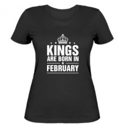 Женская футболка Kings are born in February - FatLine
