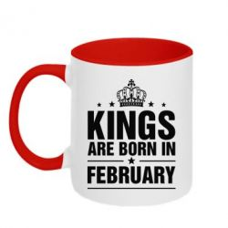 Кружка двухцветная Kings are born in February - FatLine
