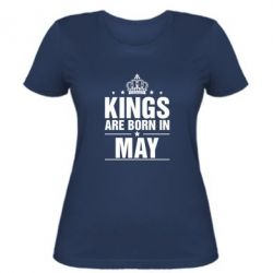 Женская футболка Kings are born in May - FatLine