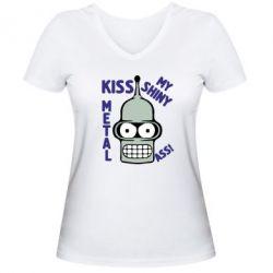 Женская футболка с V-образным вырезом Kiss metal - FatLine