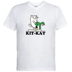 Мужская футболка  с V-образным вырезом Kit-Kat - FatLine