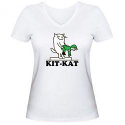 Женская футболка с V-образным вырезом Kit-Kat - FatLine