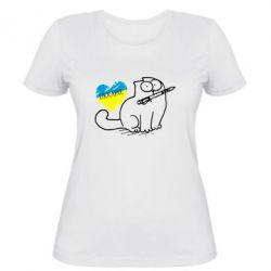 Женская футболка Кіт-патріот - FatLine