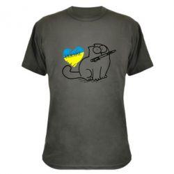 Камуфляжная футболка Кіт-патріот - FatLine