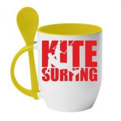 Кружка з керамічною ложкою Kitesurfing