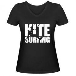 Жіноча футболка з V-подібним вирізом Kitesurfing