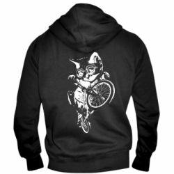 Мужская толстовка на молнии Kitten and bike