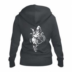 Женская толстовка на молнии Kitten and bike