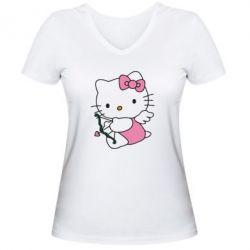 Женская футболка с V-образным вырезом Kitty амурчик - FatLine