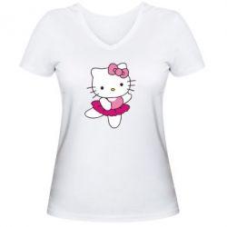 Женская футболка с V-образным вырезом Kitty балярина - FatLine