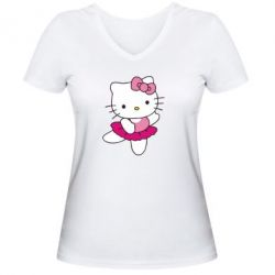 Женская футболка с V-образным вырезом Kitty балярина