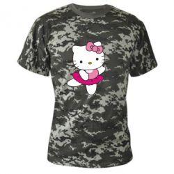 Камуфляжная футболка Kitty балярина - FatLine
