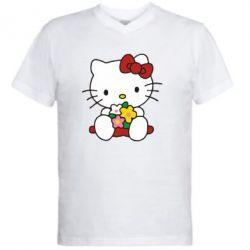 Мужская футболка  с V-образным вырезом Kitty с букетиком - FatLine