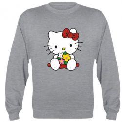 Реглан (свитшот) Kitty с букетиком - FatLine